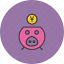 bank, banking, finance, piggy, save, savings, yuan icon