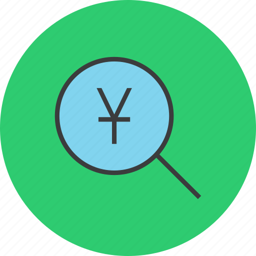 find, funds, identify, locate, search, source, yuan icon