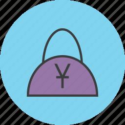bag, balance, buy, cash, handbag, shopping, yuan icon