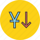 currency, decrease, finance, foreign exchange, stocks, value, yuan icon