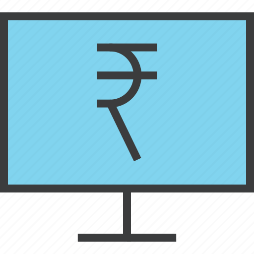 computer, ebanking, etrade, finance, online, rupee, shopping icon