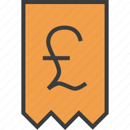 bill, invoice, pound, report, shopping, statement, trade icon