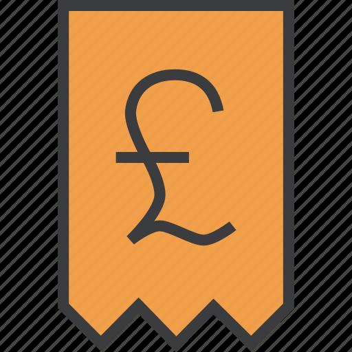 bill, invoice, pound, report, shopping, statement, trade icon