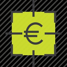 euro, financial, fix, focus, goal, sales, target icon