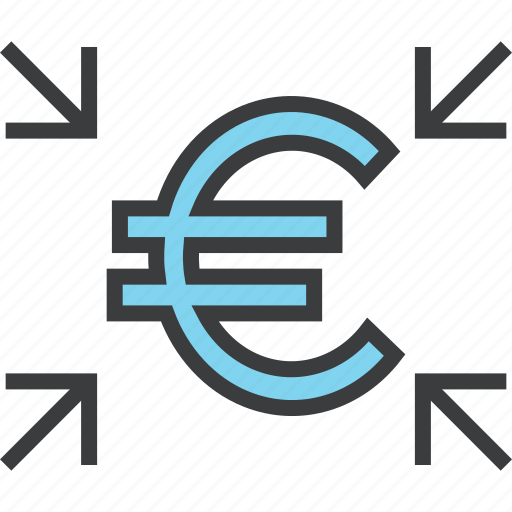 cash, crowdfunding, euro, funds, receive, share, transfer icon