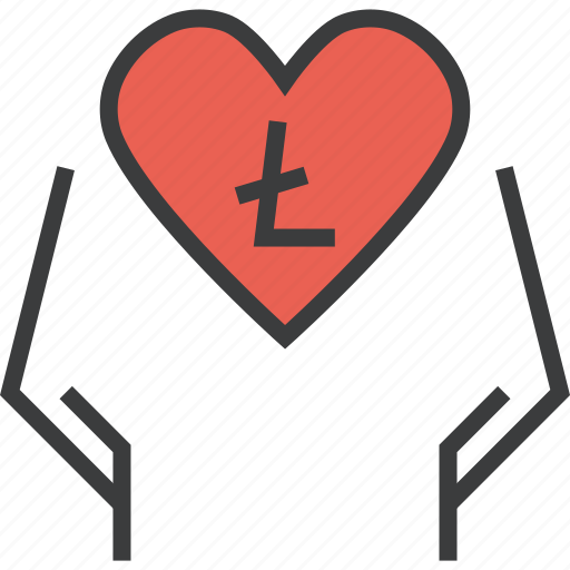 care, charity, donate, donation, litecoin, love, online icon