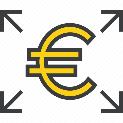 arrow, cash, euro, funds, send, share, transfer icon