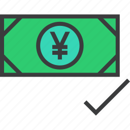 accept, approve, cash, currency, payment, verify, yen icon