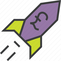 business, increase, performance, pound, profit, rocket, value icon