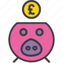 bank, banking, finance, piggy, pound, save, savings icon