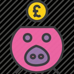 bank, banking, finance, guardar, piggy, pound, save, savings icon
