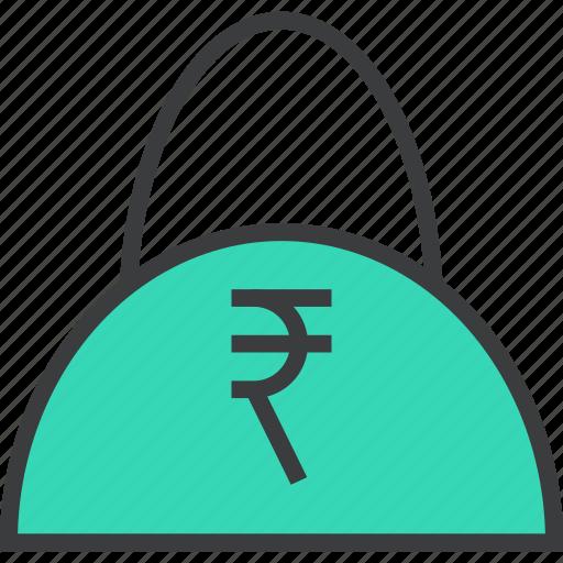 bag, balance, buy, cash, ecommerce, rupee, shopping icon