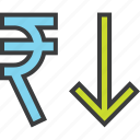 business, decrease, finance, rupee, shares, stocks, value icon