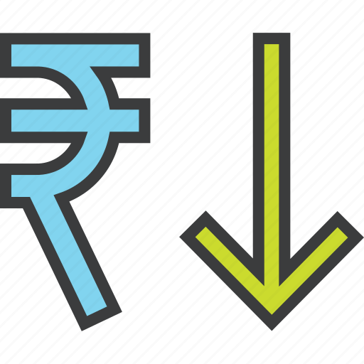 business, decrease, finance, rupee, shares, stocks, value icon