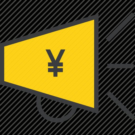 advertisement, business, campaign, marketing, promotion, sales, yen icon