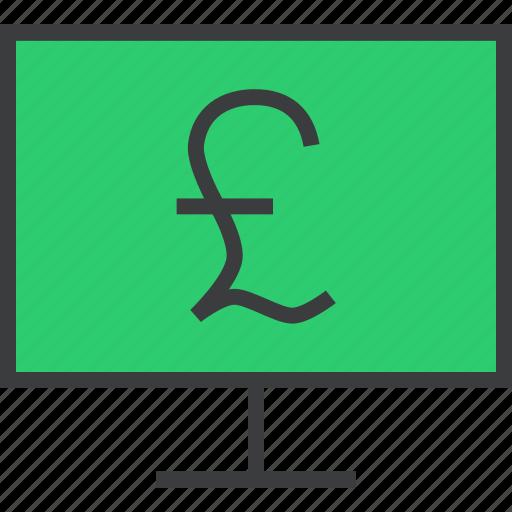 computer, ebanking, etrade, finance, internet, online, pound icon