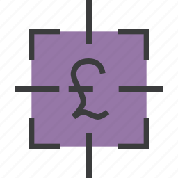 business, financial, focus, goal, pound, sales, target icon