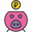bank, banking, finance, piggy, ruble, save, savings icon