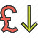 currency, decrease, finance, pound, shares, stocks, value icon