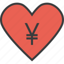care, charity, donate, donation, love, trust, yen icon