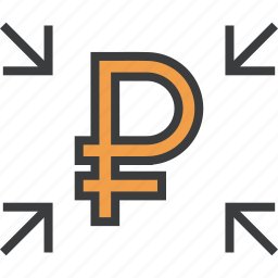 arrow, crowdfunding, funds, get, receive, ruble, transfer icon