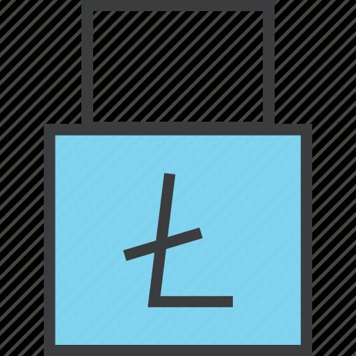 disable, litecoin, lock, online shopping, password, transaction, usage icon