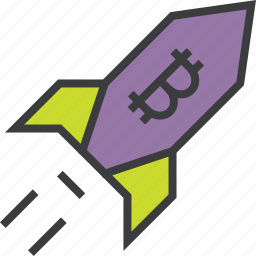 bitcoin, currency, digital, increase, rocket, usage, value icon
