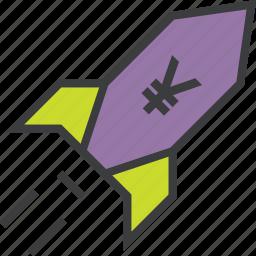 currency, increase, profit, rocket, sales, value, yen icon