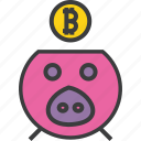 bank, banking, bitcoin, digital, piggy, savings, virtual icon