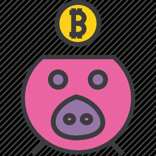 bank, banking, bitcoin, digital, piggy, savings, virtual icon