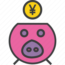 bank, banking, finance, pig, piggy, savings, yen icon