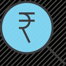 find, funds, identify, locate, rupee, sales, search icon