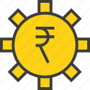 banking, business, financial, options, rupee, settings, trade icon