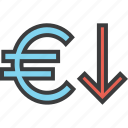 currency, decrease, euro, finance, foreign exchange, stocks, value icon