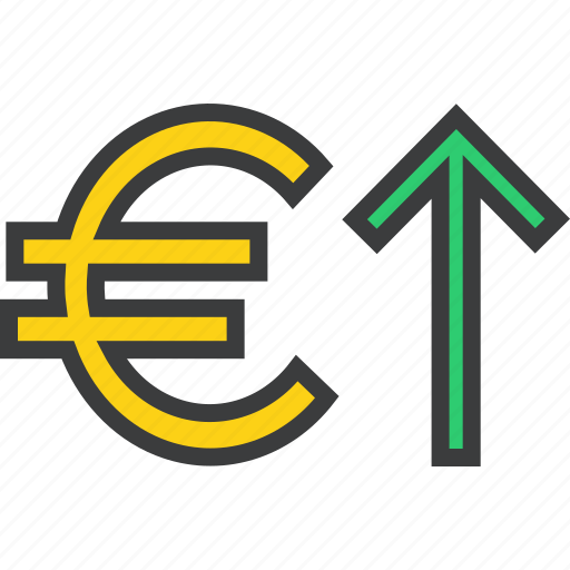 currency, euro, finance, foreign exchange, increase, shares, value icon