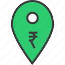 atm, bank, cashpoint, gps, map marker, pin, rupee icon