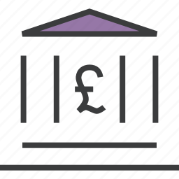 bank, banking, building, finance, financial, institute, pound icon