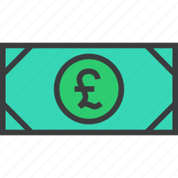 business, cash, currency, finance, money, note, pound icon