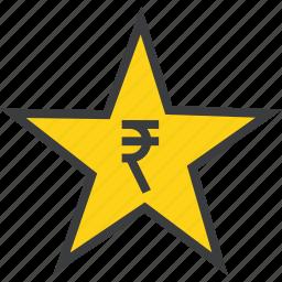 award, credit, favorite, prize, reward, rupee, star icon