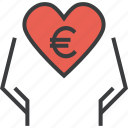 charity, donate, donation, eruo, hands, heart, love icon