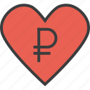 charity, donate, donation, heart, love, ruble, trust icon