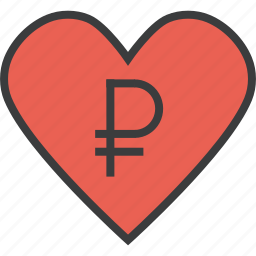 charity, donate, donation, heart, love, ruble, trust icon