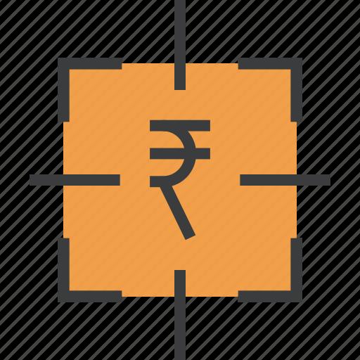 finance, financial, focus, goal, rupee, sales, target icon