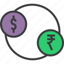 currency, dollar, exchange, finance, foreign, rupee, trade icon