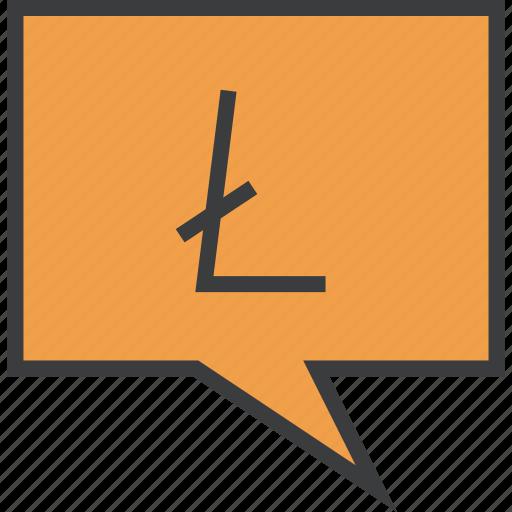 alert, digital, litecoin, message, mobile, notification, transaction icon