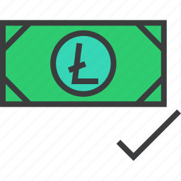 accept, accepted, currency, digital, electronic, litecoin, online icon