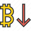 bitcoin, business, decrease, digital, finance, usage, value icon