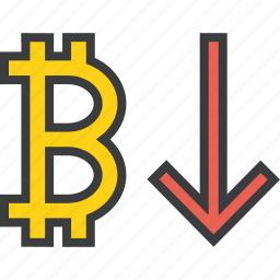 bitcoin, business, decrease, digital, finance, usage, value icon