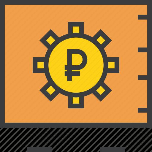 bank, locker, protection, ruble, safe, storage, vault icon