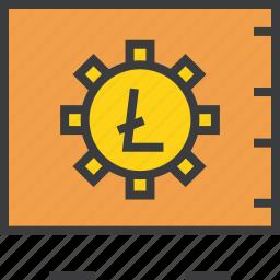 digital, litecoin, locker, safe, secure, vault, virtual icon